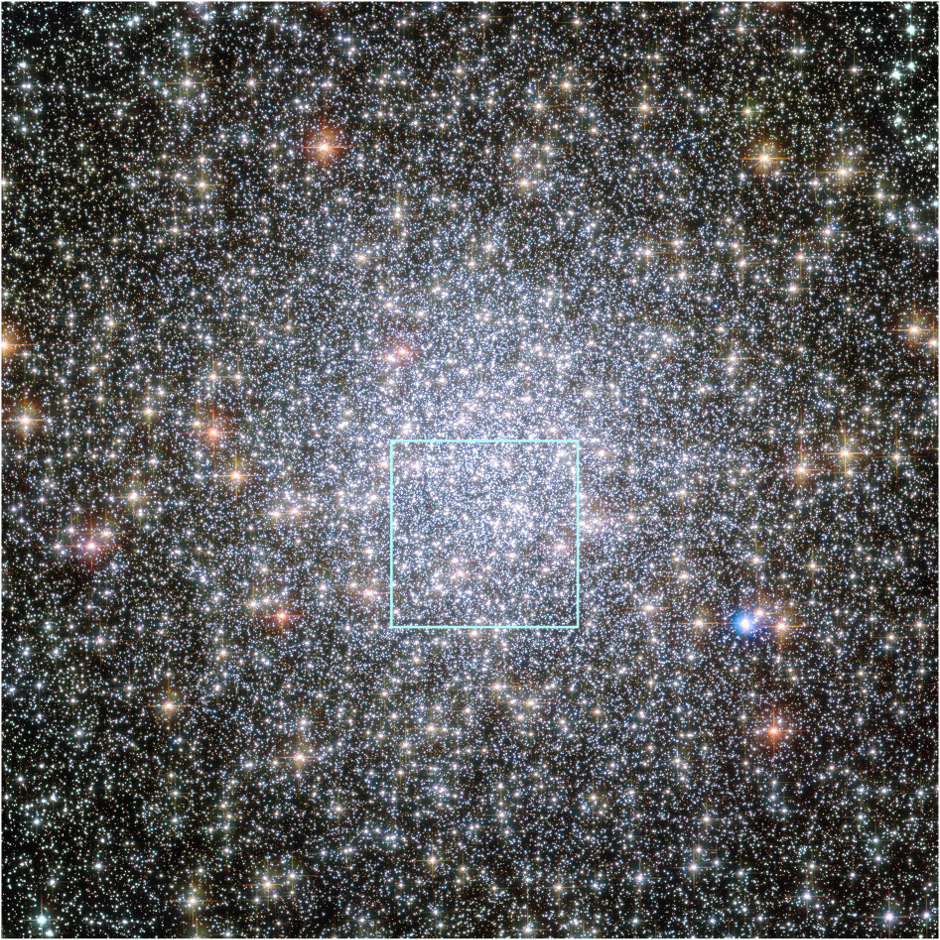 The heart of the giant globular star cluster 47 Tucanae in the Hubble Space Telescope image reveals the glow of 200,000 stars. The green box outlines the cluster's crowded core (seen in the animation below) where Hubble spied a parade of young white dwarfs starting their slow-paced 40-million-year journey to the less populated suburbs. Image credit: NASA, ESA, and H. Richer and J. Heyl (University of British Columbia, Vancouver, Canada).