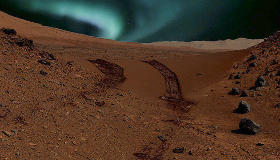 This is an artist interpretation of what aurorae may look like close to magnetic anomalies on Mars. Image credits: NASA/JPL-Caltech/MSSS and CSW/DB.