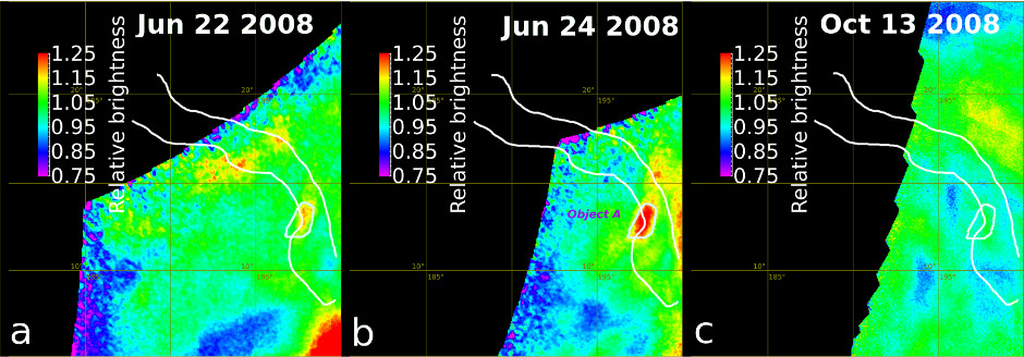 The Ganiki Chasma rift zone in Atla Regio on Venus was imaged repeatedly to look for changes. The maps presented here show changes in relative brightness compared to the average background (red-orange indicates an increase, blue-purple a decrease) for a number of images acquired on each date. While some changes are due to variations in cloud brightness, one fixed surface hot spot is inferred, labelled 'Object A', which shows an increase in brightness between 22nd and 24th June 2008 followed by a decrease. Image credit: E. Shalygin et al (2015).