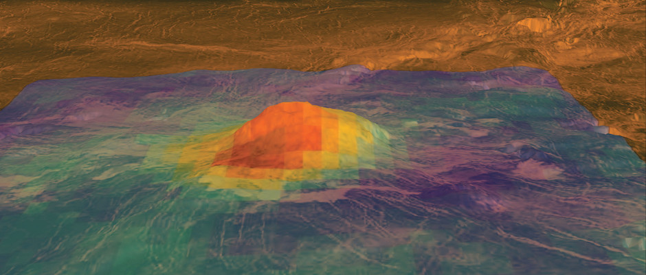 Venus Express found that the area around Idunn Mons in Imdr Regio was unusually dark compared with its surrounds, suggesting a different, younger, composition, pointing to lava flows in the last 2.5 million years. The map shows near-infrared emissivity; red-orange is high emissivity (darkest), purple is the lowest emissivity. Image credit: ESA/NASA/JPL/S. Smrekar et al (2010).