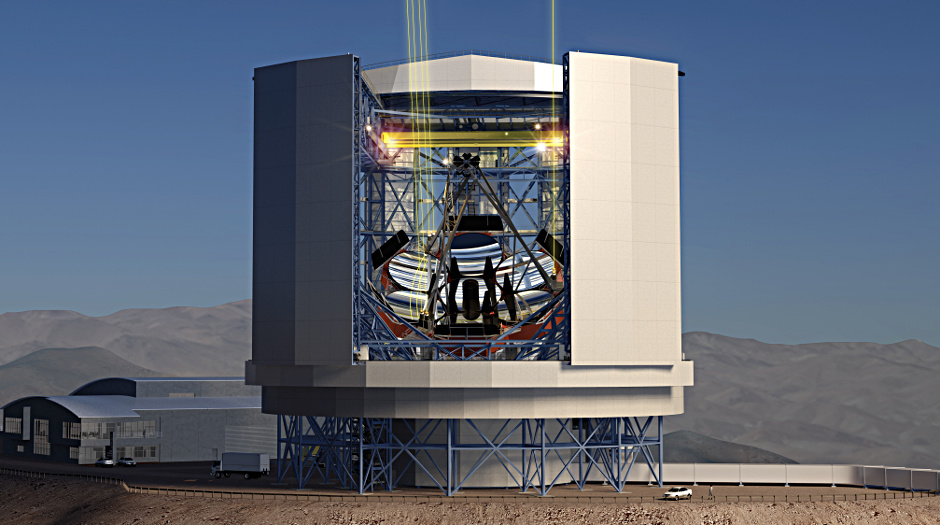Expected to see first light in 2021, the Great Magellan Telescope (GMT) will be the largest optical telescope in existence. It will be a segmented mirror telescope employing seven of today's largest stiff monolith mirrors as segments. Six off-axis 8.4-metre or 27-foot segments surround a central on-axis segment, forming a single optical surface 24.5 metres, or 80 feet, in diameter with a total collecting area of 368 square metres. The GMT will have a resolving power 10 times greater than the Hubble Space Telescope. Image credit: Giant Magellan Telescope – GMTO Corporation.