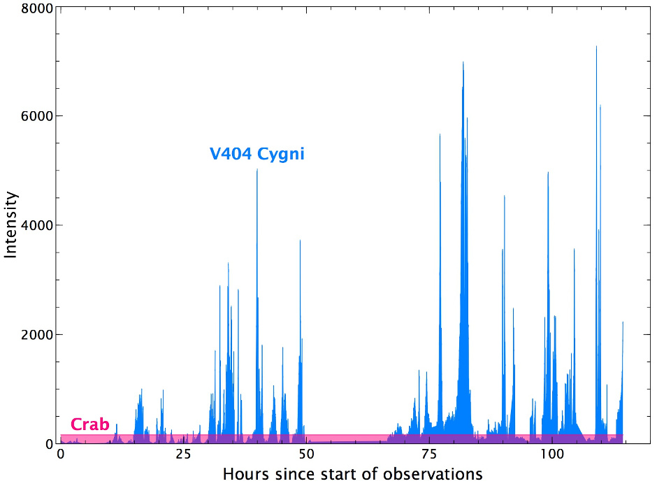 This graph shows variation in the X-ray luminosity of the black-hole binary system V404 Cygni, as observed with the IBIS/ISGRI instrument on ESA's Integral gamma-ray observatory at energies between 20 and 40 keV compared to the Crab Nebula (pink). On 15 June 2015, V404 Cygni started showing signs of extraordinary activity, something that had not happened since 1989. The renewed activity is likely caused by material slowly piling up in the disc, until eventually reaching a tipping point that dramatically changes the black hole's feeding routine for a short period. Illustration credits: Carlo Ferrigno, Integral Science Data Centre, Geneva, Switzerland/Jerome Rodriguez, Cea-Saclay, France/Marion Cadolle Bel, Max-Planck Computing and Data Facility, Garching Germany.