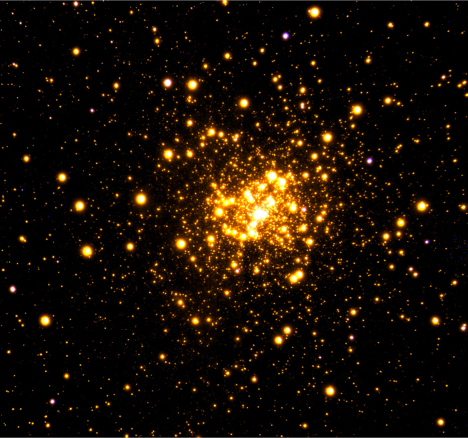 Gemini Observatory near-infrared image of the globular cluster Liller1 obtained with the GeMS adaptive optics system on the Gemini South telescope in Chile. Image credit: Gemini Observatory/AURA.