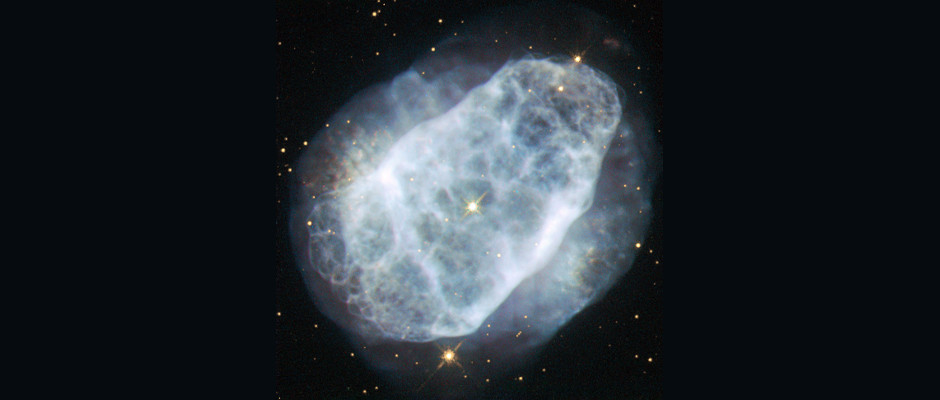 NGC 6153 is a planetary nebula that is elliptical in shape, with an extremely rich network of loops and filaments, shown clearly in this Hubble image. However, this is not what makes this planetary nebula so interesting for astronomers — it contains five times more nitrogen than our Sun as well as high concentrations of other elements. Image credit: ESA/Hubble & NASA, Acknowledgement: Matej Novak.