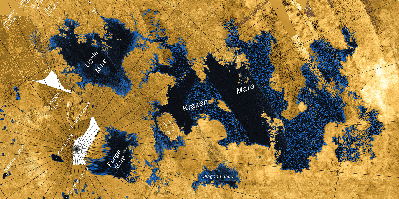 Radar images from NASA's Cassini spacecraft reveal many lakes on Titan's surface, some filled with liquid, and some appearing as empty depressions. False colouring is is used to distinguish bodies of liquid hydrocarbons (blue-black) from dry land (brown) and does not represent the visual appearance of Titan's surface. Image credit: NASA/JPL-Caltech/ASI/USGS.