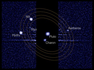 This composite image from the Hubble Space Telescope shows Pluto and its largest moon, Charon, at the center. Pluto's four smaller moons orbit this 'binary planet' and can be seen to the right and left. The smaller moons must be imaged with 1000x longer exposure times because they are far dimmer than Pluto and Charon. Image credit: NASA/STScI/M. Showalter, SETI Institute.