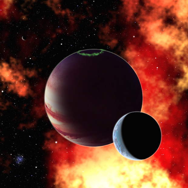 An artist's impression of an exomoon orbiting a giant planet. Image: David A Aguilar (CfA).