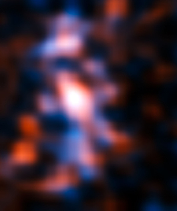 ALMA's Long Baseline Campaign has produced a spectacularly detailed image of a distant galaxy being gravitationally lensed, revealing star-forming regions — something that has never been seen before at this level of detail in a galaxy so remote. The resulting reconstructed image of the distant galaxy using sophisticated models of the magnifying gravitational lens, reveal fine structures within the ring that have never been seen before: several dust clouds within the galaxy, which are thought to be giant cold molecular clouds, the birthplaces of stars and planets. Note that some of the smaller structures visible here might be artifacts caused by the reconstruction method. Image credit: ALMA (NRAO/ESO/NAOJ)/Mark Swinbank (Durham University).