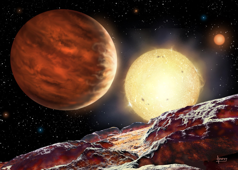 An artist's impression of Tom's planet, WASP-142b, orbiting its star, WASP-142. The planet is depicted as seen from a hypothetical moon. A second, dimmer star is seen in the background. Being 1000 light-years away, the planet is too distant to obtain a direct image. Picture credit: David A. Hardy.