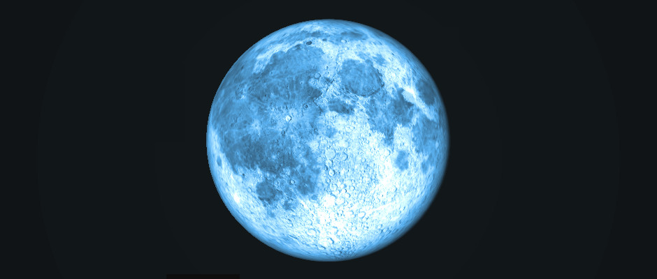 Colourised computer simulation of 31 July's full Moon at 11pm BST, as seen from the centre of the British Isles. AN graphic by Ade Ashford / Stellarium.