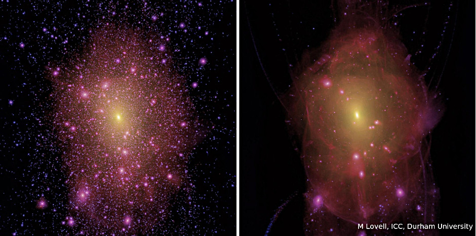 Simulated image comparing Cold Dark Matter (CDM) model with one based on sterile neutrinos. On the left is a visualisation of the Milky Way environment in a Universe dominated by CDM; on the right is the same object seen in a sterile neutrino dark matter Universe. While there are thousands of satellite galaxies in the CDM model, their abundance is greatly reduced in the sterile neutrino case. The net result is a 'smoother' dark matter halo in the sterile neutrino case, compared to the 'lumpy' CDM one. The simulations  were created at the Institute for Computational Cosmology in Durham as part of the Aquarius supercomputing project undertaken by the Virgo consortium. Image credit: M Lovell, ICC, Durham University.