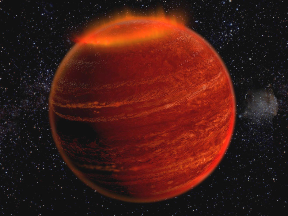 Artist's impression of an auroral display on a brown dwarf. Image credit: Chuck Carter and Gregg Hallinan/Caltech.