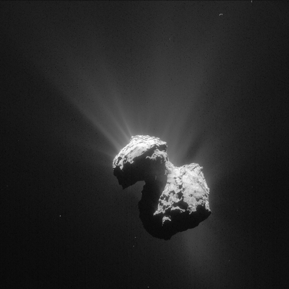 This single frame Rosetta navigation camera image of Comet 67P/Churyumov-Gerasimenko was taken on 7 July 2015 at a distance of 154 kilometres (96 miles) from the comet's centre. The image has a resolution of 13.1 metres/pixel and measures 13.4 kilometres (8.3 miles) across. Image credits: ESA/Rosetta/NAVCAM – CC BY-SA IGO 3.0.