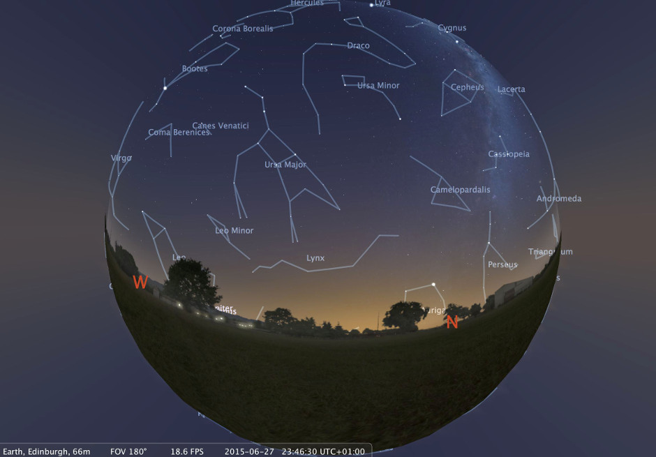An image of the sky above Edinburgh made using Stellarium open-source planetarium software. Users of the new headset will see a similar image, but will be totally immersed in the view. Image credit: A. Lawrence.
