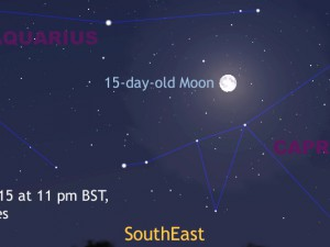 If you are viewing from the BritishIsles on the evening Friday, 31July with a clear sky to the southeast around 10pmBST, you may wish to study the rising full Moon very closely. It is, by one definition at least, a Blue Moon — the second full Moon occurring this month for observers in the UK. The Moon's size is exaggerated for clarity. AN graphic by AdeAshford.