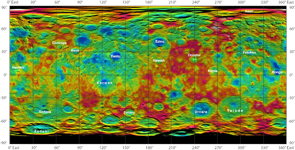 This colour-coded map from NASA's Dawn mission shows the highs and lows of topography on the surface of dwarf planet Ceres. The colour scale extends about 5 miles (7.5 kilometres) below the surface in indigo to 5 miles (7.5 kilometres) above the surface in white. The topographic map was constructed from analysing images from Dawn's framing camera taken from varying Sun and viewing angles. The map was combined with an image mosaic of Ceres and projected as an simple cylindrical projection. Image credit: NASA/JPL-Caltech/UCLA/MPS/DLR/IDA.
