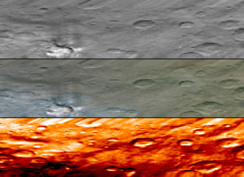 This image, from NASA's Dawn's visible and infrared mapping spectrometer (VIR), highlights a bright region on Ceres known as Haulani, named after the Hawaiian plant goddess. Each row shows Ceres' surface at different wavelengths. On top is a black-and-white image; in the middle is a true-colour image, and the bottom is in thermal infrared, where brighter colours represent higher temperatures and dark colours correspond to colder temperatures. The three images appear slightly flattened in the y-axis and smeared in the upper part due to the motion of the spacecraft. These images were taken at a distance of 2,722 miles (4,381 kilometres) from Ceres and have a resolution of about 0.6 miles (1 kilometre) per pixel. They were produced on 6 June 2015. Image credit: NASA/JPL-Caltech/UCLA/ASI/INAF.