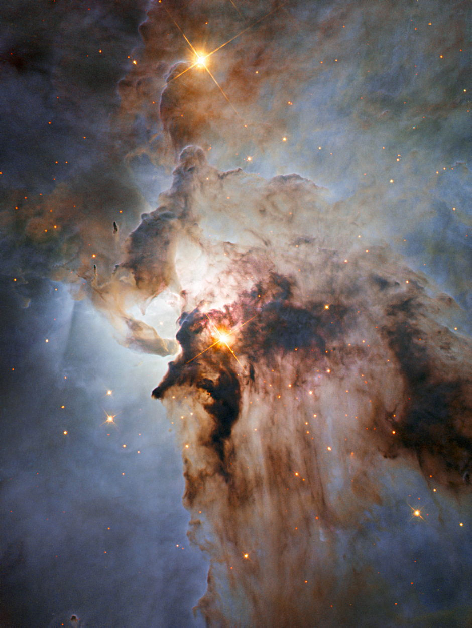This is a newly released Hubble image of the Lagoon Nebula, otherwise known as Messier8 and the star cluster NGC6523. It lies 4,500 light-years away in the constellation Sagittarius. Image credit: NASA, ESA, J. Trauger (Jet Propulson Laboratory).