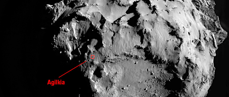 This image was taken by Philae's ROsetta Lander Imaging System, ROLIS, 3.1 km from Comet 67P/Churyumov–Gerasimenko at 14:38:53 GMT on 12 November 2014. The image measures 3.4 kilometres across and the image scale is 3.3 metres/pixel. Image credit: ESA/Rosetta/Philae/ROLIS/DLR.