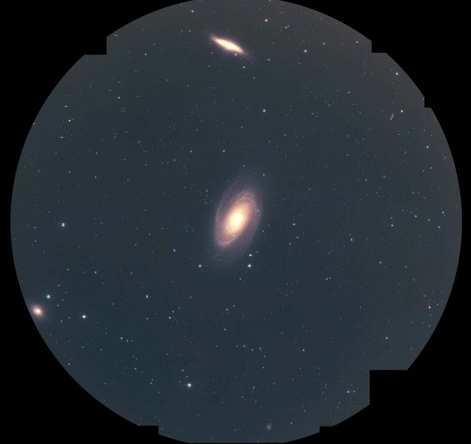 Pseudo-colour images from the Hyper Suprime-Cam prime-focus camera on the Subaru Telescope which contains Messier81 (centre), Messier82 (top), and NGC3077 (eight o'clock position on edge of frame). The diameter of the field of view is 1.5 degrees. Image credit: NAOJ/HSC Project.