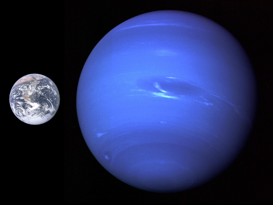 This composite picture shows the relative sizes of Earth and Neptune. The image of Neptune was captured by Voyager2 at a distance of 4.4million miles, some 116 hours before the spacecraft's closest approach in August 1989. The GreatDarkSpot, an anticyclonic storm, is thought to represent a hole in the methane cloud deck of Neptune's atmosphere. Around it, winds were measured blowing up to 1,500 miles (2,400 kilometres) an hour — the fastest in the solar system. Neptune completes a revolution in 16.11 hours. Image credit: NASA/JPL.