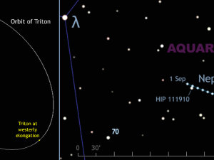 Finder chart for planet Neptune and largest moon Triton, September 2015. AN graphic by AdeAshford.