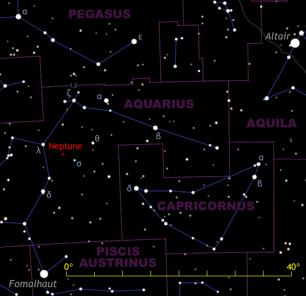 This wide-field finder chart for Neptune shows the view to the south-southwest as seen from the BritishIsles around 1amBST at the beginning of September, or by 11pm at the end of the month. First-magnitude star Fomalhaut lies very low due south, while somewhat brighter and higher star Altair lies 60° — or three spans of an outstretched hand at arm's length — to the southwest. Each minor division of the yellow scalebar represents 5°, or the field of view of a 10x50 binocular. Neptune lies between magnitude +3.7 lambda (λ) Aquarii and magnitude +4.8 sigma (σ) Aquarii. Stars down to the dark sky naked-eye limit of magnitude +6 are shown. AN illustration by AdeAshford.
