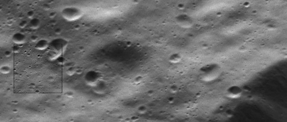 This two-in-one view of Dione from NASA's Cassini spacecraft includes the mission's highest-resolution view of the Saturnian moon's icy surface. The view, from the spacecraft's wide-angle camera (WAC), includes an inset view, near centre left, from the narrow-angle camera (NAC). The NAC view shows features about 10 times smaller than the WAC view. The narrow-angle camera view has an image scale of about 10 feet (3 meters) per pixel. Sunlight illuminates the scene from top. North on Dione is down. The views were acquired in visible light at an altitude of 334 miles (537 kilometres) above Dione. Image credit: NASA/JPL-Caltech/Space Science Institute.
