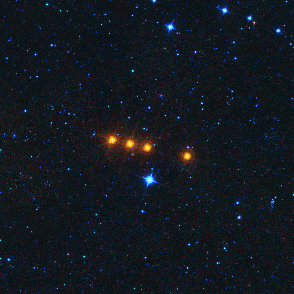 Asteroid 31 Euphrosyne (pronounced ew-FROZ-i-nee), was discovered by James Ferguson on 1 September 1854. With an orbital period of 5.59 years, orbital inclination of 26.3° and a mean distance from the Sun of 3.15 astronomical units, it is one of the ten largest minor planets in the main asteroid belt between the orbits of Mars and Jupiter. This is a time-lapse view of Euphrosyne by NASA's Wide-field Infrared Survey Explorer (WISE) on 17 May 2010. Image credit: NASA/JPL.