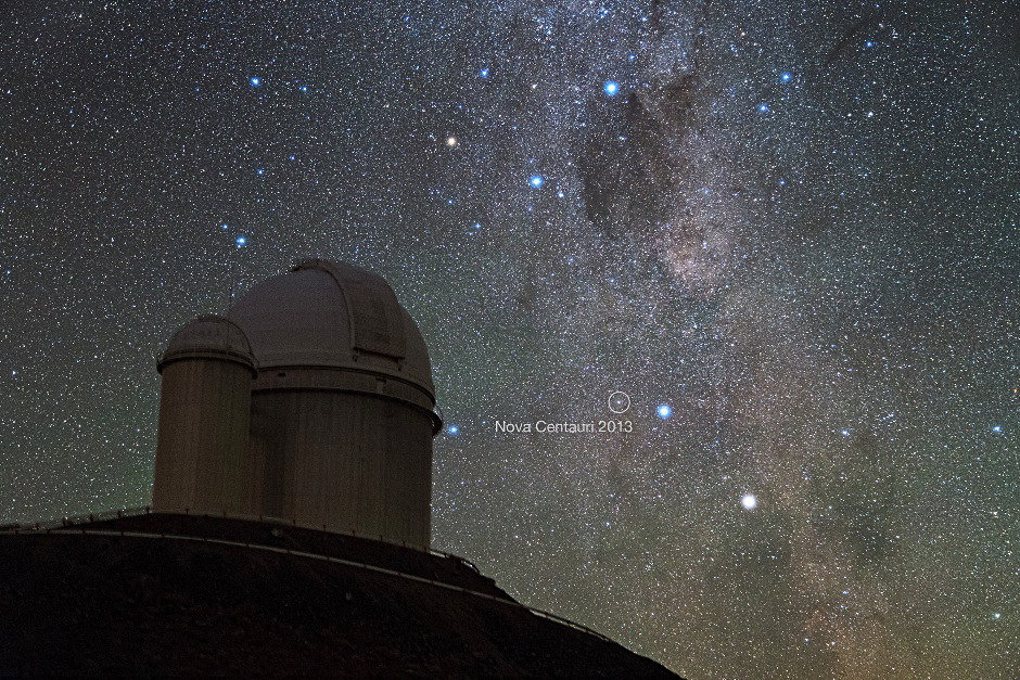Alpha and Beta Centauri, two of the brightest stars in the southern sky, had a new companion in late 2013 — the naked eye Nova Centauri 2013. The iconic Southern Cross lies at top centre. This photo was taken by ESO Photo Ambassador Yuri Beletsky at ESO's La Silla Observatory in the Chilean Atacama Desert in the morning hours of Monday, 9 December 2013. Image credit: Y. Beletsky (LCO)/ESO.