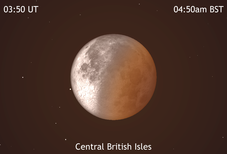 As the Moon's orbital motion carries it out of the Earth's shadow once totality has ended, the Moon will appear half immersed in the umbra at 4:50amBST (03:50UT). At this time it will be just 20° high in the west-southwest for observers in the centre of the BritishIsles where dawn astronomical twilight will start in 15 minutes. AN graphic by AdeAshford.