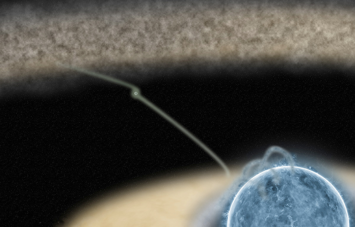 An artist's impression of the HD100546 system. A planet that is still in the process of forming could be boosting a transfer of material from the gas-rich outer part of the disc to the inner regions. Illustration credit: David Cabezas Jimeno (SEA).