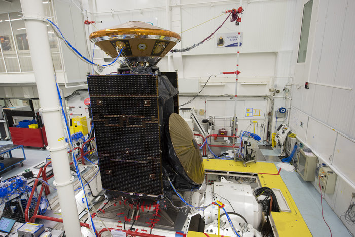 The ExoMars Trace Gas Orbiter and Schiaparelli landing module undergo vibration testing in April 2015 at Thales Alenia Space in France. Credit: ESA/S. Corvaja