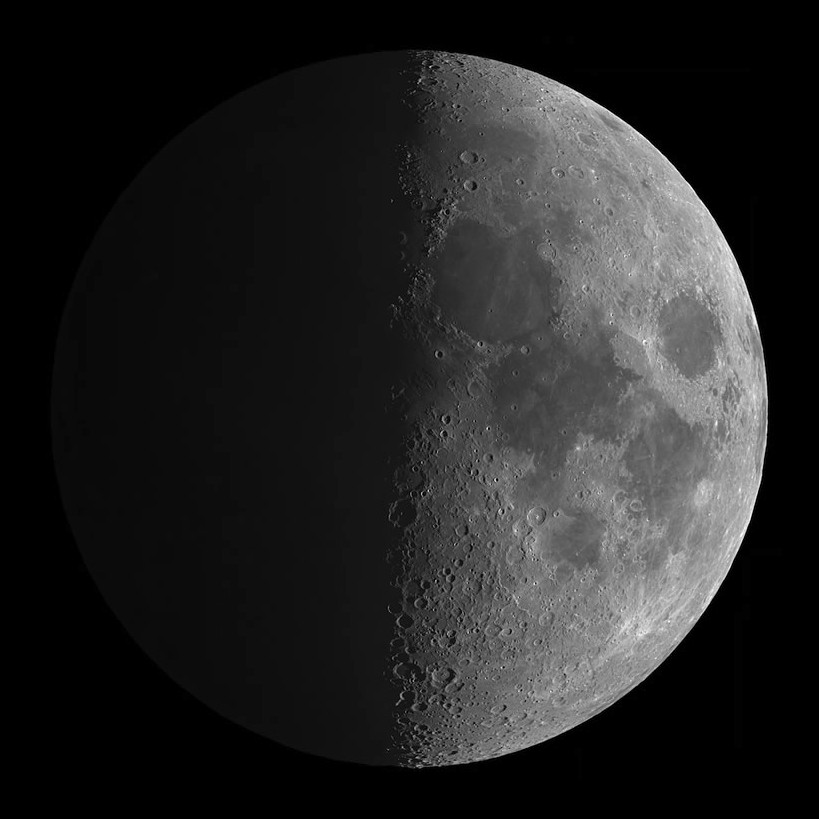 Capturing earthshine on the darkened hemisphere of the Moon near first quarter phase whilst preserving a balanced illumination of the bright hemisphere is quite an achievement. This image was taken from Veszprémvarsány, Győr-Moson-Sopron County, Hungary by astrophotographer András Papp using a GPU Optical telescope, Sky-watcher HEQ5 mount, 5-inch f/9.45 telescope lens, Imaging Source DMK41AF04 camera, 2400mm lens, 1/192- and 2-second exposures. Image credit: © AndrásPapp.