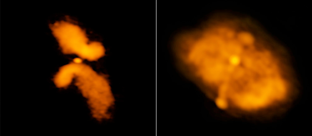 """Processed versions of the images at the top of the page. At left is the galaxy J0702+5002, which the researchers concluded is not an X-shaped galaxy whose form is caused by a merger. At right is the galaxy J1043+3131, which is a """"true"""" candidate for a merged system. Image credit: Roberts, et al.; Bill Saxton, NRAO/AUI/NSF."""