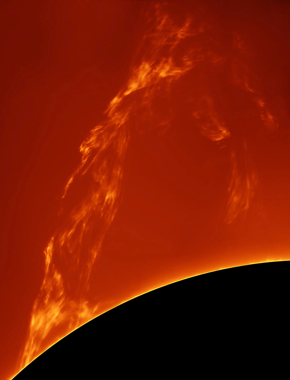 This image of a spectacular solar prominence was taken from Costigliole d'Asti, Italy by astrophotographer Paolo Porcellana on 27March 2015 using a home-made truss 150mm f/15 refractor, Sky-Watcher AZEQ6 mount and PTG Chameleon mono camera. Image credit: © PaoloPorcellana.