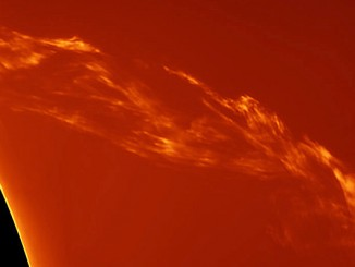 This image of a spectacular solar prominence was taken from Costigliole d'Asti, Italy by astrophotographer Paolo  Porcellana on 27 March 2015 using a home-made truss 150mm f/15 refractor, Sky-Watcher AZ EQ6 mount, PTG Chameleon mono camera. Image credit: © Paolo Porcellana.