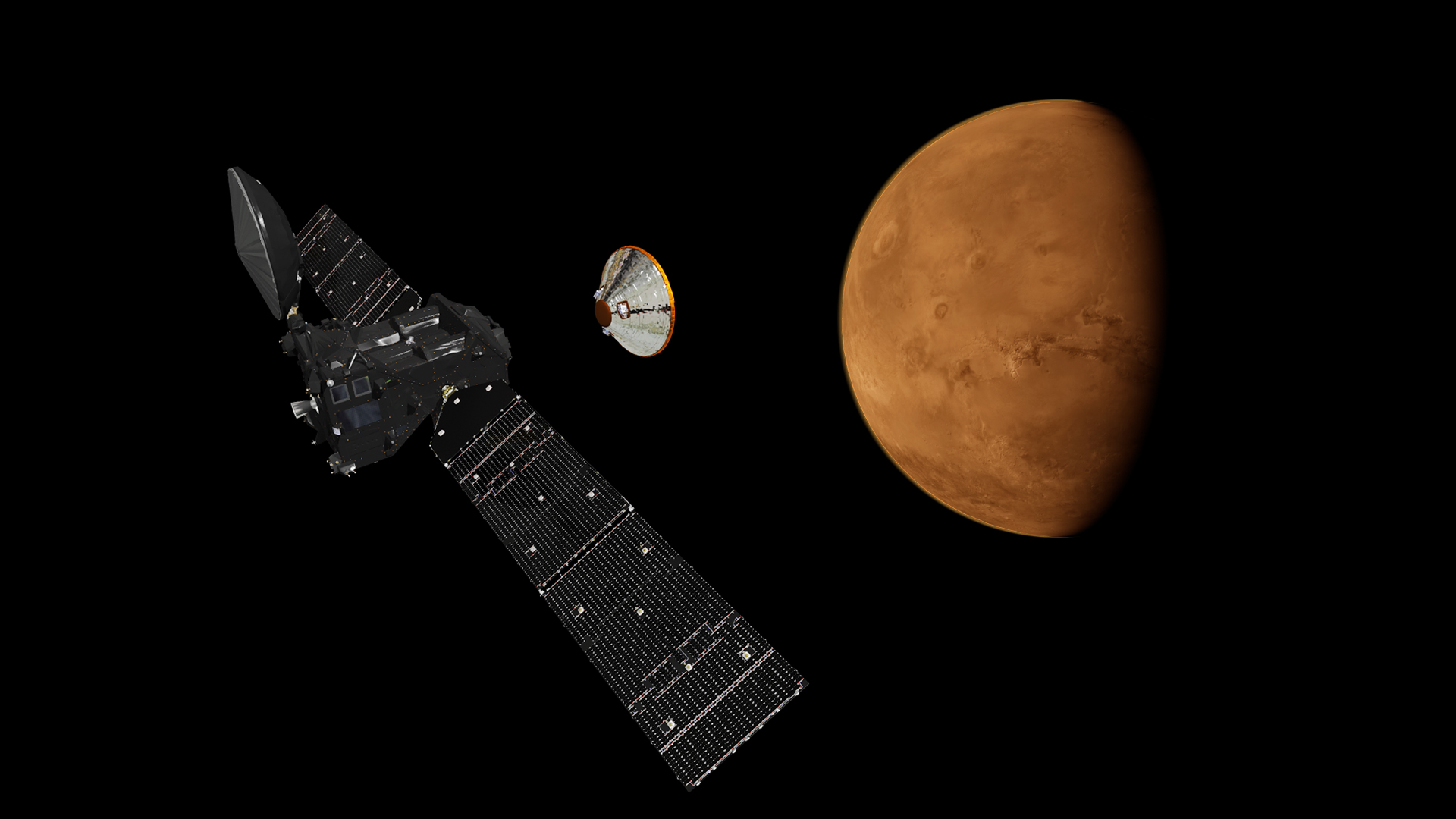 Artist's concept of the Schiaparelli lander separating from the Trace Gas Orbiter on final approach to Mars. Credit: ESA/ATG medialab