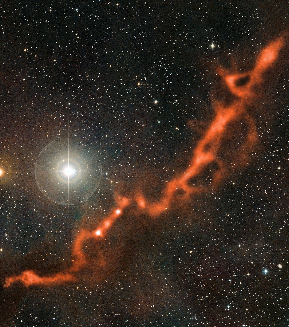 Part of the Taurus Molecular Cloud (TMC-1), a stellar nursery for the formation of stars and planets. Image credit: ESO/APEX (MPIfR/ESO/OSO)/A. Hacar et al./Digitized Sky Survey 2. Acknowledgment: Davide De Martin.