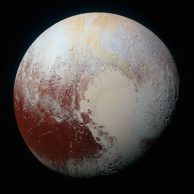 NASA's New Horizons spacecraft captured this high-resolution enhanced colour view of Pluto on July 14, 2015. The image combines blue, red and infrared images taken by the Ralph/Multispectral Visual Imaging Camera (MVIC). View the full resolution image. Credit: Credit: NASA/JHUAPL/SWRI