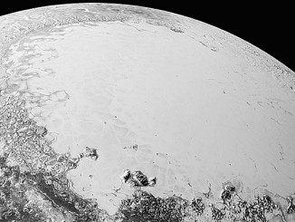 This synthetic perspective view of Pluto, based on the latest high-resolution images to be downlinked from NASA's New Horizons spacecraft, shows what you would see if you were approximately 1,100 miles (1,800 kilometres) above Pluto's equatorial area, looking northeast over the dark, cratered, informally named Cthulhu Regio toward the bright, smooth, expanse of icy plains informally called Sputnik Planum. The entire expanse of terrain seen in this image is 1,100 miles (1,800 kilometres) across. The images were taken as New Horizons flew past Pluto on 14 July 2015, from a distance of 50,000 miles (80,000 kilometres). Image credits: NASA/Johns Hopkins University Applied Physics Laboratory/Southwest Research Institute.