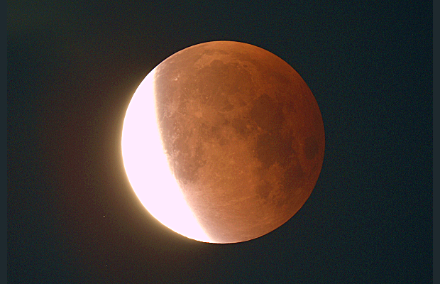 Another image from Astronomy Now's web editor AdeAshford, this time post-totality at 4:38amBST when the Moon was emerging from the Earth's umbral shadow. Celestron80ED refractor with a Canon1100D, 2-second exposure, ISO400.