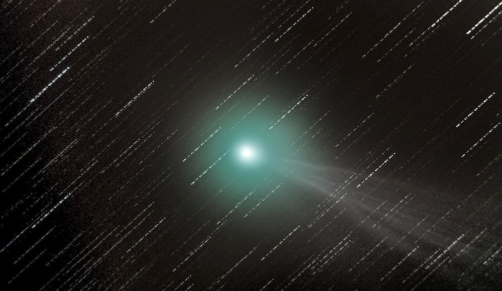 This image of Comet C/2014 Q2 Lovejoy was taken from Market Harborough, Leicestershire, UK by 15-year-old George Martin on 18December 2014 using a Sky-watcher 200P 200mm f/5 Newtonian telescope, Sky-watcher EQ5 equatorial, single-axis motor mount and NikonD3200 camera, ISO3200. Image credit: © GeorgeMartin.