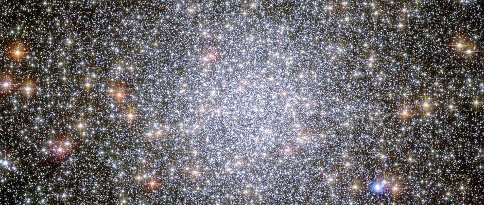 This NASA/ESA Hubble Space Telescope image shows a globular cluster known as NGC 104 — or, more commonly, 47 Tucanae, since it is part of the constellation of Tucana (The Toucan) in the southern sky. After Omega Centauri it is the brightest globular cluster in the night sky, hosting tens of thousands of stars. Astronomers have identified the orbiting companions to five millisecond pulsars in this cluster and found them all to be white dwarf stars. Image credit: NASA/ESA CC BY 3.0.
