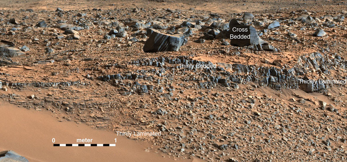 """An image taken at the """"Hidden Valley"""" site, en-route to MountSharp, by NASA's Curiosity rover. A variety of mudstone strata in the area indicate a lakebed deposit, with river- and stream-related deposits nearby. Decoding the history of how these sedimentary rocks were formed, and during what period of time, was a key component in the confirming of the role of water and sedimentation in the formation of the floor of GaleCrater and MountSharp. This image was taken by the Mast Camera (Mastcam) on Curiosity on the 703rd Martian day, or sol, of the mission. Image credit: NASA/JPL-Caltech/MSSS."""