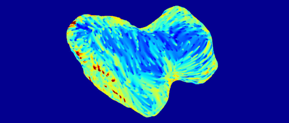 Subsurface temperature map of 67P/Churyumov-Gerasimenko, showing the southern hemisphere of the comet. The map is based on observations obtained with the Microwave Instrument for the Rosetta Orbiter (MIRO) at millimetre at sub-millimetre wavelengths between September and October 2014. The MIRO data are projected on a digital shape model of the comet. Image credits: ESA/Rosetta/NASA/JPL-Caltech.