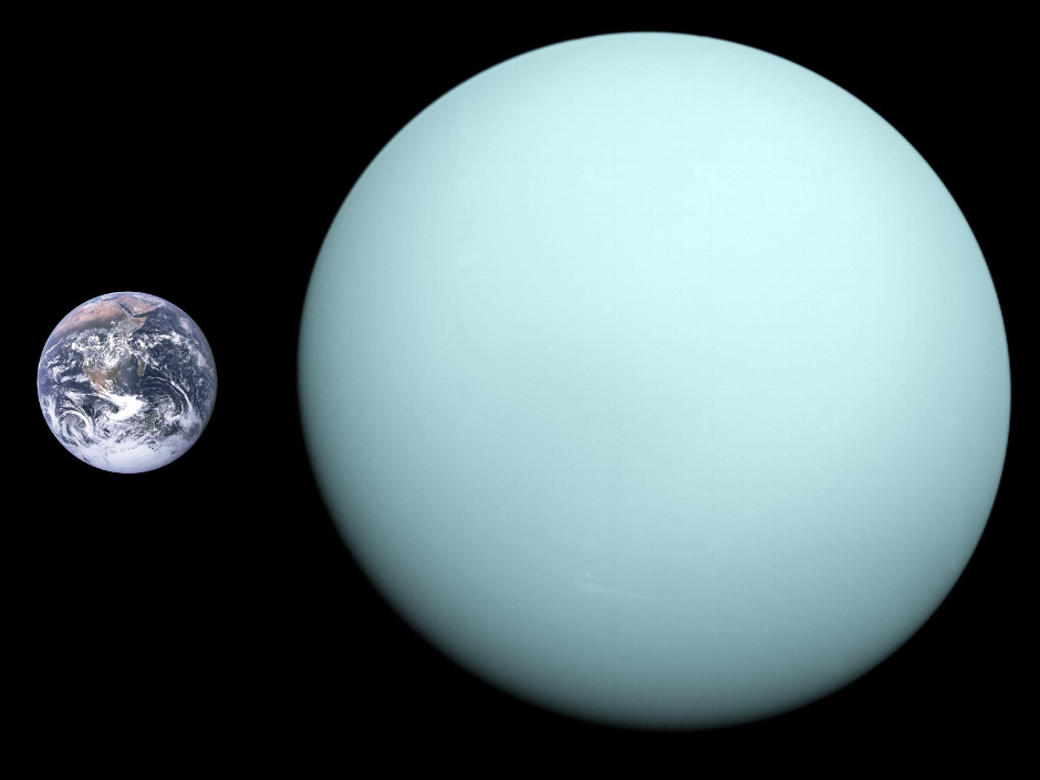 The relative sizes of planets Earth and Uranus compared. Image credit: NASA.