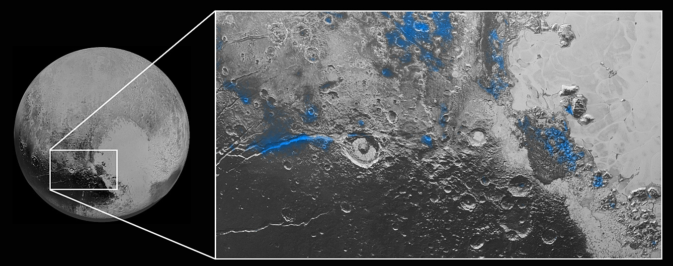 Regions with exposed water ice are highlighted in blue in this composite image from New Horizons' Ralph instrument, combining visible imagery from the Multispectral Visible Imaging Camera (MVIC) with infrared spectroscopy from the Linear Etalon Imaging Spectral Array (LEISA). The strongest signatures of water ice occur along Virgil Fossa, just west of Elliot crater on the left side of the inset image, and also in Viking Terra near the top of the frame. A major outcrop also occurs in Baré Montes towards the right of the image, along with numerous much smaller outcrops, mostly associated with impact craters and valleys between mountains. The scene is approximately 280miles (450kilometres) across. Note that all surface feature names are informal. Image credits: NASA/JHUAPL/SwRI.