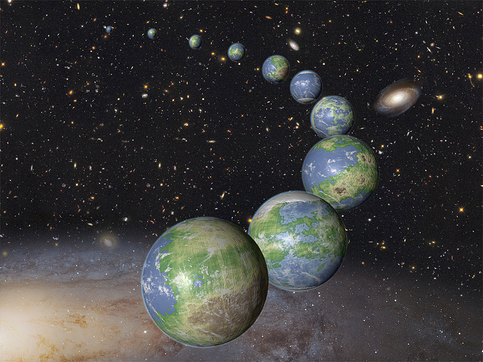 An artist's impression of the innumerable Earth-like planets that have yet to be born over the next trillion years in the evolving universe. Image credit: NASA / ESA / G. Bacon (STScI).