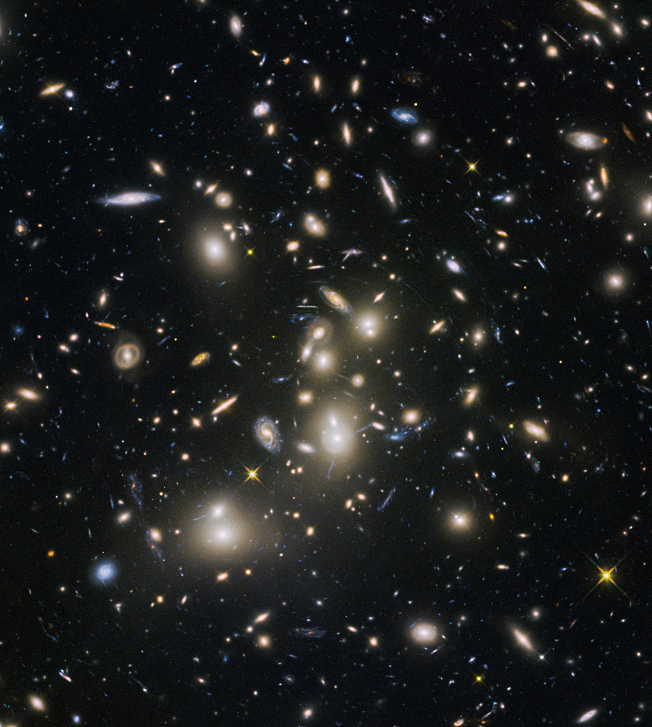 Abell 2744, nicknamed Pandora's Cluster, was the first of six targets within the Frontier Fields programme, which together have produced the deepest images of gravitational lensing ever made. The cluster is thought to have a very violent history, having formed from a cosmic pile-up of multiple galaxy clusters. Image credit: NASA, ESA and the HST Frontier Fields team (STScI).